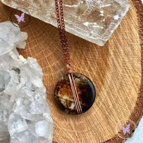 Leopard Agate Coin Pendant Necklace 08